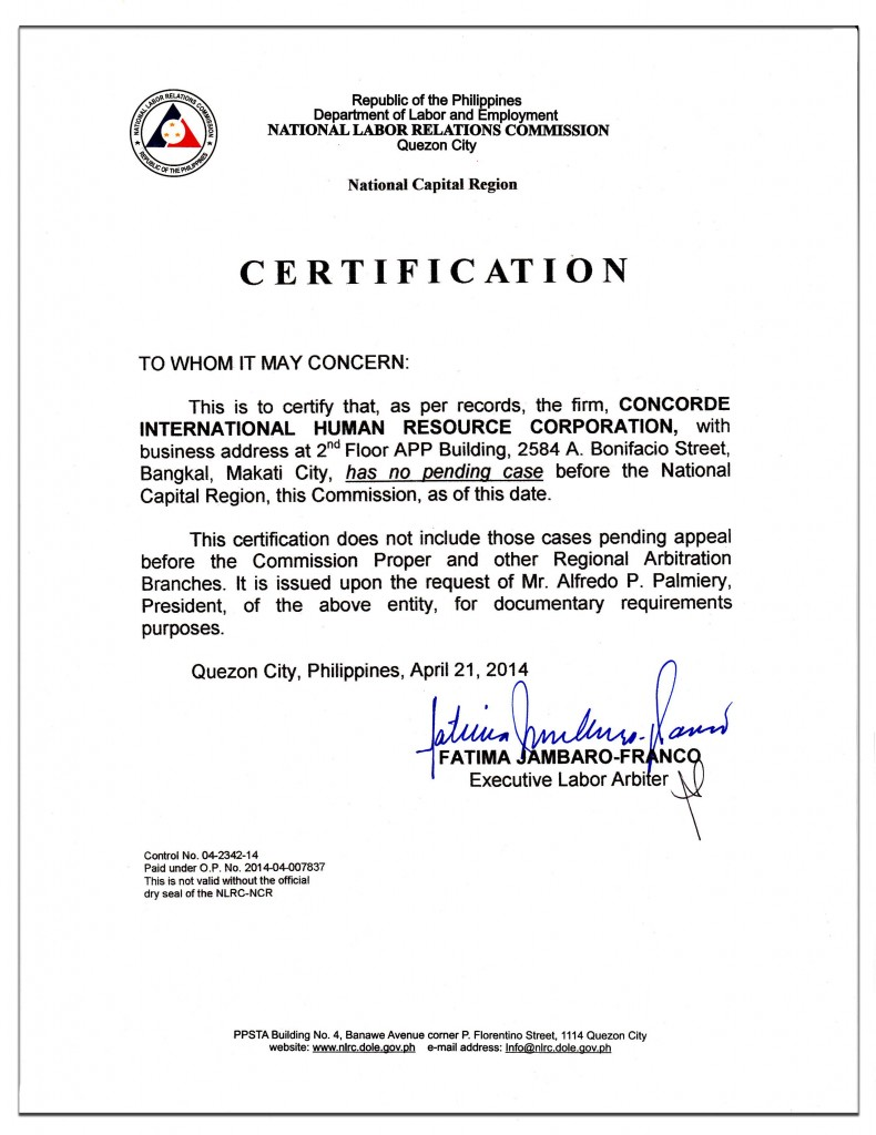 Certificate of employment sample ph image collections certificate certificate of employment sample for domestic helper image concorde certification of good standing poea nlrc concorde yelopaper Images